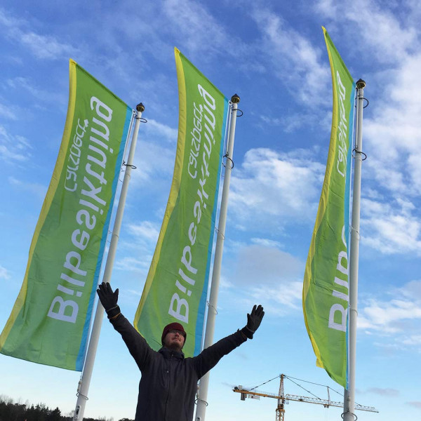 Flagga med Windtracker konfektion